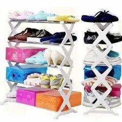Shopolic White 5 Layer Shoe Rack, Size: Medium