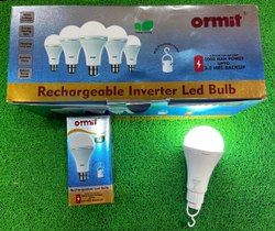 Round Cool White 9W Ormit Rechargeable Inverter LED Bulb, B22
