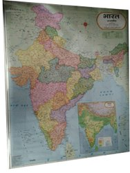 Hindi Laminated Paper Political India Wall Map, Size: 20 X 28 Inch (w X H)
