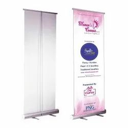 Silver Aluminium Promotional Roll Up Standee, Size: 6 Feet