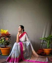 Beautiful Soft Linen Cotton Saree