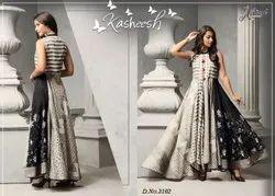 Party Wear 7 Color Ank Enterprise Long Designer Gown