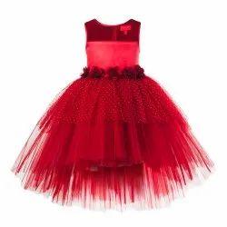 Toy Balloon Kids Girls Party wear Maroon High Low Dress