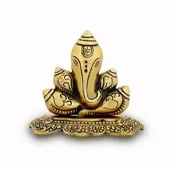 Metal Gold Plated Shankh Ganesha For Decoration & Gifting Purpose