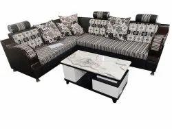 Wooden Modern Living Room L Shape Sofa Set, Hall