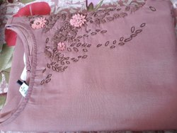 Cotton Fabric For Women Kurtis, Waves, Pink