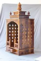 Brown Hand Carved Sheesham Wood Temple, For Worship