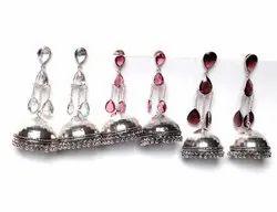 Garnet, White Topaz Gemstone Jhumka Earrings Jewelry