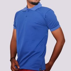 Half Sleeve Blue Men's Cotton Polo T Shirts