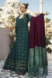 Linen Ladies Green Pakistani Suit, For Garments