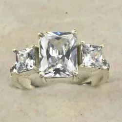 Zircon Finger Ring Three Stone Ring