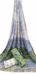 Casual Wear Printed Mom Wax Batik Cotton Chiffon Dupatta Suit Set