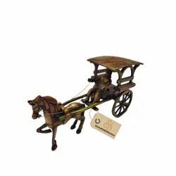 Handicraft Brass Horse Cart, For Exterior Decor