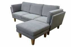 Wooden Grey Mae Three Seater Sofa, Living Room, 8 Inches