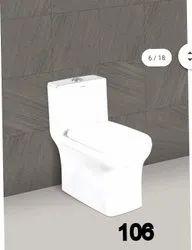 White Floor Mounted Single Piece Toilet Seat