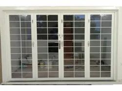 White Powder Coated Galvanized Steel French Folding Doors, For Home, 4mm