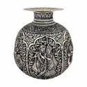 German Silver Plated Radha Krishna Flower Vase