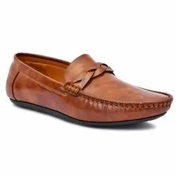 Casual Brown Mens Synthetic Leather Loafer Shoes, Size: 8