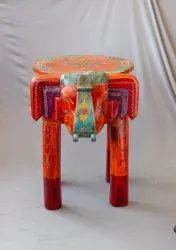 Wooden Handcrafted Painted Elephant Stool