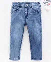 Casual Wear Floral Print Kids Full Length Denim Jeans, Machine wash