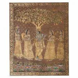 Golden Pichwai Painting of Krishna with her Bansuri
