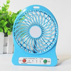 Blue Plastic Portable Mini Rechargeable Fan, 3 Speed