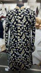 Round Neck Full Sleeves Velvet Embroidery Floral Kurta