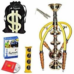 Newzenx Brass Hookah Indian Traditional Hookah Pipe 17 Inch Gold Polished With Full Accessories