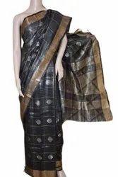 Printed Ladies Black Weaving Silk Saree, 5.5meter
