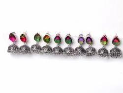 Multi Tourmaline Gemstone Jhumka Earrings Jewelry