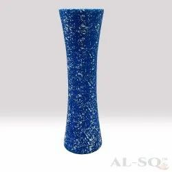 Blue Modern White spots Wooden Flower Vase, Size: 12 INCHES, Shape: Round Shaped