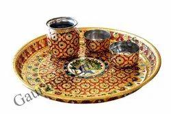Handicraft Meenakari Steel Pooja Thali