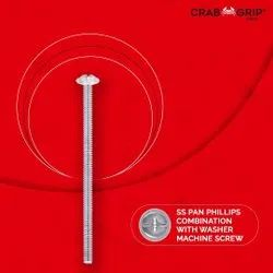 Stainless Steel Pan Phillips Combination With Washer Machine Screw, Grade: SS 204, Size: 10mm