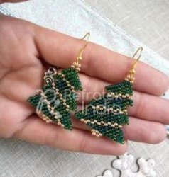 Golden and Green Beaded Earring