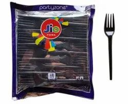 100 Piece Black Disposable Plastic Fork, For Event and Party Supplies, Size: 125mm