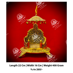 Golden Polished Singhasan Statue