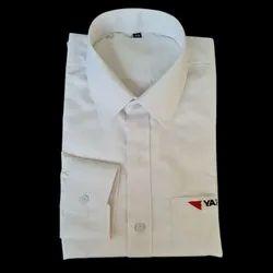 Plain Collar Neck Mens White Cotton Casual Shirt