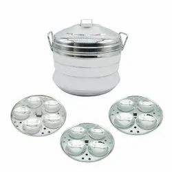 Manual Stainless Steel 3 Plate Aluminium Idli Cooker, For Home, Capacity: 9L