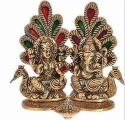 Gold Plated Laxmi Ganesh Sitting On Peacock Statue For Home Decoration & Corporate Gift