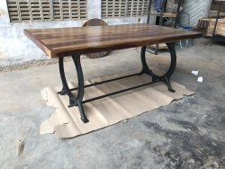 anicent Dark Brown iron and Wooden Dining Table, Size: 180cm*90cm