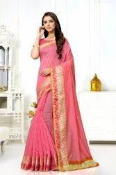 Pink Plain Party Wear Cotton Saree, 6.3 m (with blouse piece)