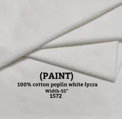Paint 100% Cotton Poplin White Lycra Shirting Fabric