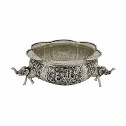 Antique Silver Plated Urli For Home Decoration & Corporate Gift