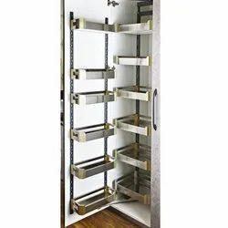 Slimline SS Satin Pantry Unit Storage System (Cabinet Width 450 Mm 12 Baskets)-6 Layer