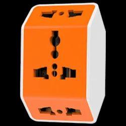 Orange White ABS Plastic Multi Plug Universal Adaptor