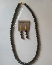 Black Obsidian Necklace Earrings Set