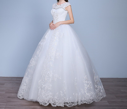 White Tulle Christian Wedding Catholic Gown White Wedding Frock  H410 Extra Sleeves