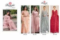 4 Color Net Ank Enterprise Embroidered Designer Wedding Wear Pakistani Suit, Size: Free Size