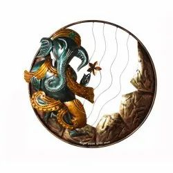 Indian Handcrafted Lord Ganesha In Circular Frame LED Light Traditional Wall Decor Ant