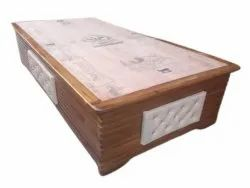 Brown Glossy Wooden Single  Bed